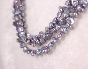 Lavender Keishi Pearl Necklace, Knotted Silk Cord, Triple Strand