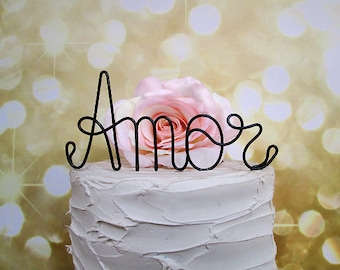 AMOR Wedding Cake Topper, Rustic Wedding Cake Topper,Vintage Wedding Cake Decoration, Wine Wedding Cake Topper, Rustic Wedding Cake Topper
