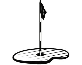 Golf Flag Hole #3 Golfer Golfing Clubs Sports Course Cart Ball Green Game .SVG .EPS .PNG Instant Digital Clipart Vector Cricut Cut Cutting