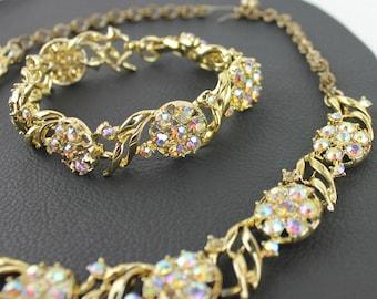 Rainbow Rhinestone & Gold Tone Vintage Necklace and Bracelet Set