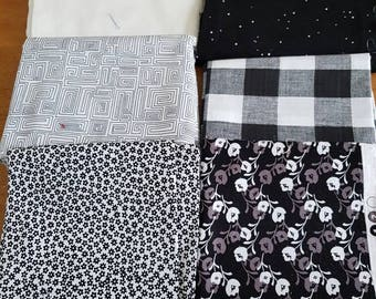 Black and white fabric bundle