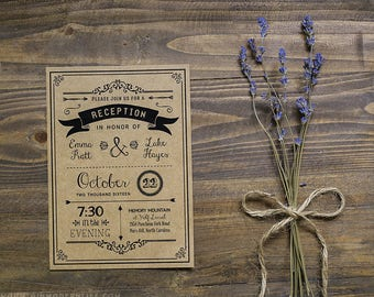 Printable DIY Reception Only Invitation - Black