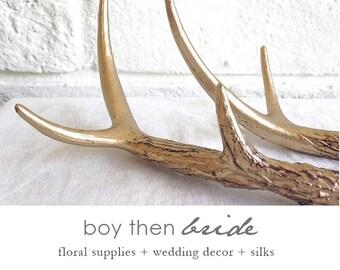 Two gold antlers, faux deer antler, fake antlers, floral antlers, antler decor, Christmas deer antler, antler door hanger, antlers, deer