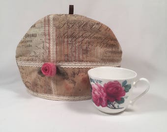 Tea Cozy with Felted Wool Lining, Felted Wool Flower, Pink Rose, Shabby Chic, Upcycled