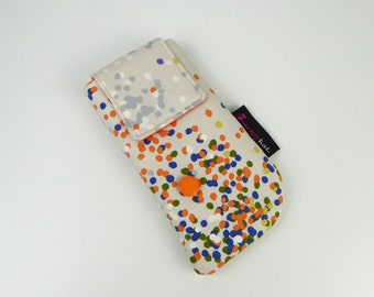 Protective glasses case, Padded case for phone or glasses, Colourful fabric case with padding for glasses or phone, Handmade case for phone