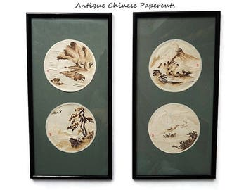 Antique Chinese Paper Cuts/ Handmade Paper Art Picture/Chinese Landscape Scenes / Pair  Matted and Framed