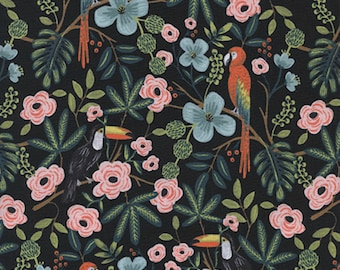 Paradise Garden Midnight 8028-001 - Menagerie - Anna Bond Rifle Paper Co - Cotton + Steel