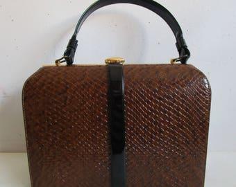 Vintage John Hort 50s Handbag Brown Reptile Texture Black Patent 1950 Top Handle Purse