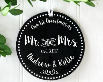 Christmas Ornament Mr and Mrs Ornament First Christmas Married Personalized Wedding Gift Married Christmas New Item Mr. and Mrs. IBO2FS mmo1