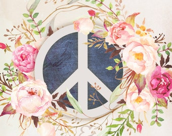 Shabby Chic Peace and Love - 8x10 Fabric Block - Great for Quilting, Pillows & Wall Art - Buy 2, Get 1 FREE