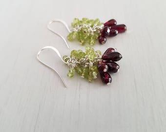 Garnet, peridot gemstone cluster earrings