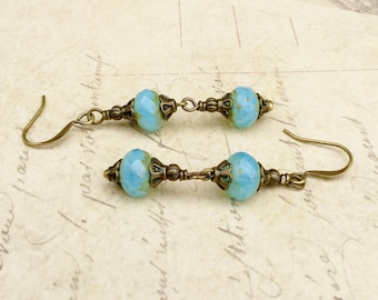Aqua Earrings, Aquamarine earrings, Milky Aquamarine Earrings, Blue Earrings, Victorian Earrings, Vintage Look Earrings, Czech Glass Beads