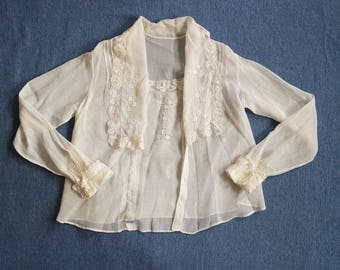 Antique Edwardian Gauze Cotton Blouse - Cotton and Lace Classic 1910s Blouse