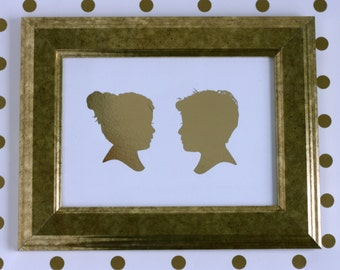Custom Silhouette Gold Foil Double Print with 2 silhouettes - made from your photo - by Simply Silhouettes