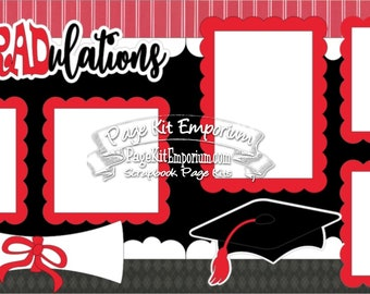 Scrapbook Page Kit Graduation Red School Boy Girl 2 page Scrapbook Layout 53