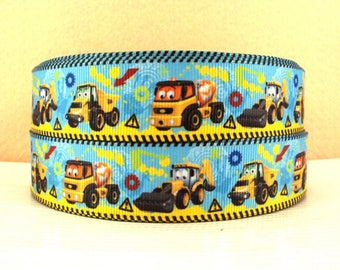 Ribbon grosgrain tractor vehicle truck 25mm yellow blue by the yard