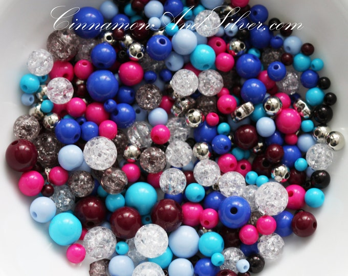 50 Pack Multicolored Variety Round Plastic Beads for Jewelry Crafts