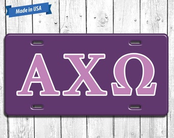 Alpha Chi Omega License Plate Monogram - Personalized Sorority Auto Tag LP033
