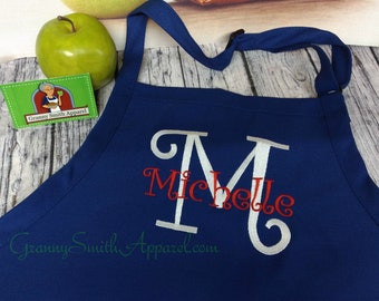"""Her new married name apron with last name and First or last name initial. With or without bow. 24""""L x 28""""W professional 3 pocket full bib."""