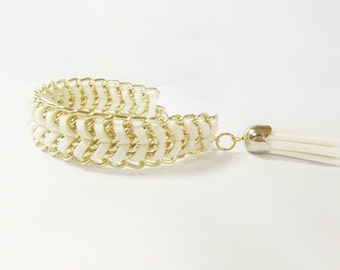 Leather wrapped in gold tone chain bracelet - white leather braided - white leather tassel