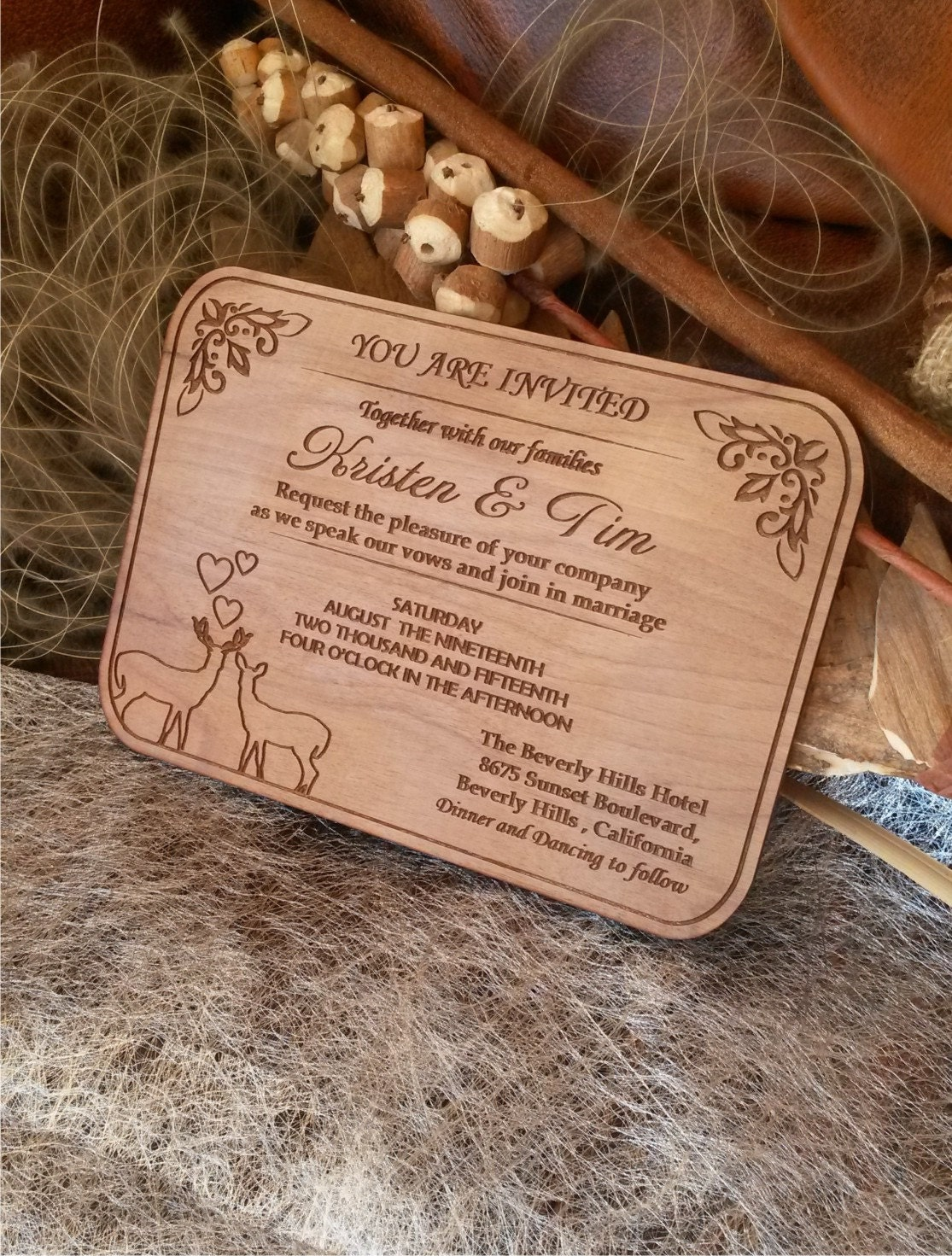 50 Engraved Personalized Wooden invitations / Laser Cut