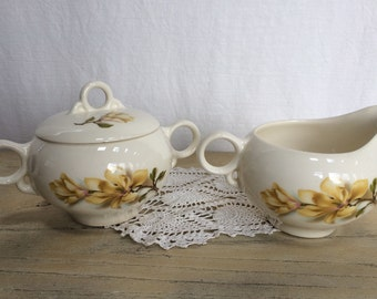 Vintage Universal Ballerina Southern Gardens Creamer and Sugar Set, Yellow Magnolia, Mid Century China, Coffee Service