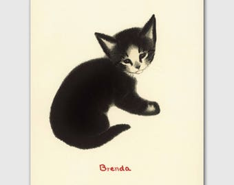 "Cat Artwork, Cat Print (Cat Home Decor, Black Cat Gifts) --- ""Brenda"""