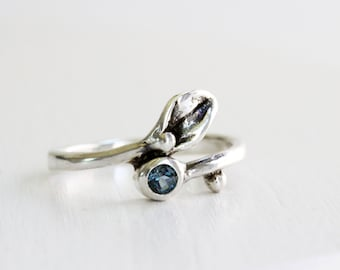 Leaf Ring,London Blue Topaz Small Leaf Silver Ring