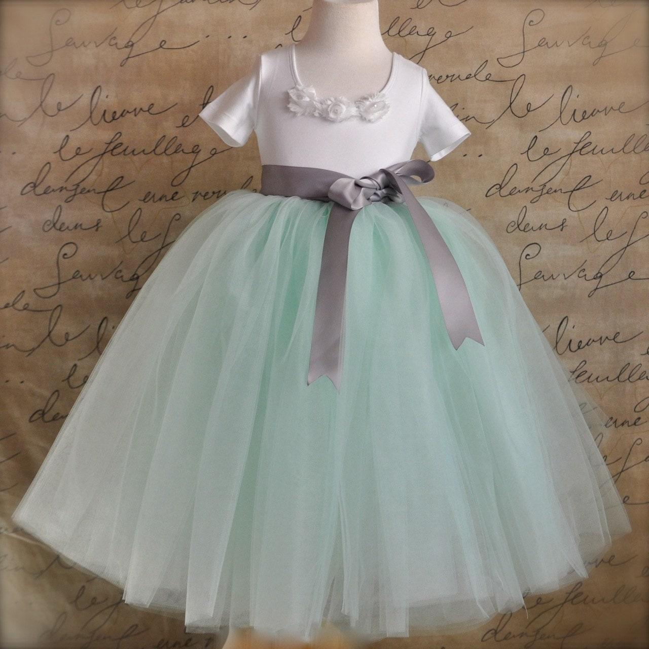 Mint green with silver grey ribbon Flower Girl tutu.