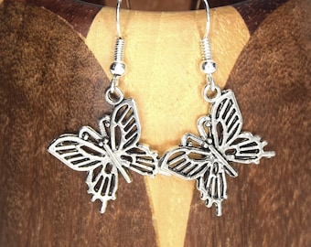 Silver butterfly, silver plated clip on earrings butterfly earrings