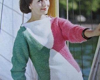 Knit Sweater Pattern PDF - 1960's Vintage Pattern, Ladies' Tri-Color Sweater Pattern 2811
