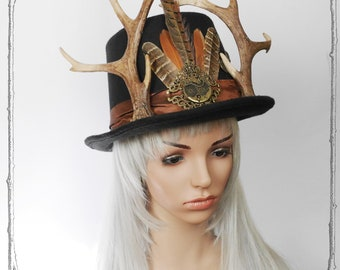 Antlers Tophat ( Steampunk, Goth )