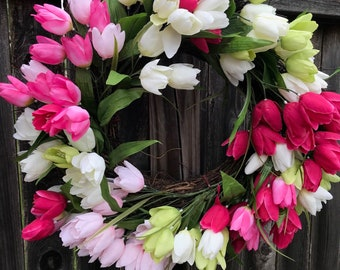 Tulip Wreath/Flower Wreath/Spring Wreath/Summer Wreath/Front Door Wreath/Summer Door Decor/Spring Door Decor/Bright Wreath/Colorful Wreath
