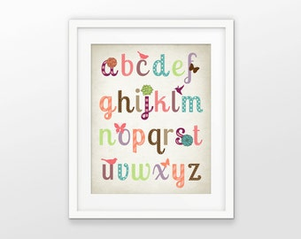 Girls Nursery Alphabet Print - Playroom Decor - ABC Alphabet Picture - Girls Room Wall Art - Baby Shower Gift Idea - Preschool Poster #202
