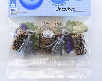 Uncorked  Wine Button Pack 11ct