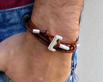 Silver Anchor Hook Mens Leather Bracelet Cuff Mens Nautical Wrap Bracelet Adjustable