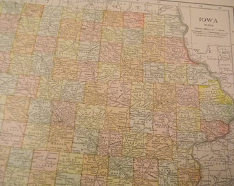1913 State Map Iowa - Vintage Antique Map Great for Framing 100 Years Old