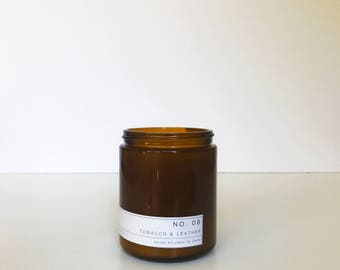 Soy Candle / No. 08 / Leather & Tobacco /  8 oz Soy Wax Candle / Hand Poured / Scented Soy Wax / Amber Jar /