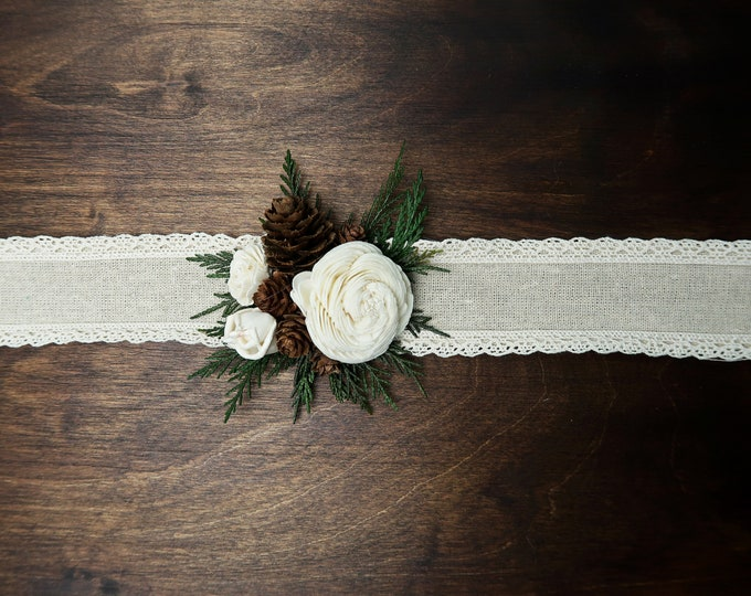 Natural raw cotton lace bridal sash belt with pine cones thuja sola flowers rustic woodland wedding preserved conifer greenery