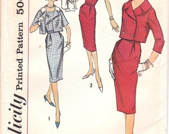 Wiggle Dress with Double Breasted Jacket, Short or Three Quarter Sleeve Jacket, Detachable Collar, Size 16, Bust 36, Simplicity 2841, Uncut