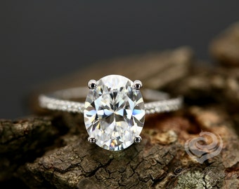 Certified 9x7mm/2.10 Carats Oval Cut Forever One G-H Color Moissanite 14k White Gold Diamond Engagement Ring(Other Stone Available)