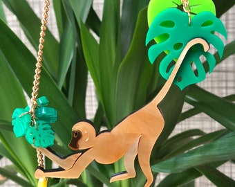 Monkey necklace, banana necklace, perspex jewellery, perspex jewelry, handmade necklace, tropical necklace, jungle necklace,