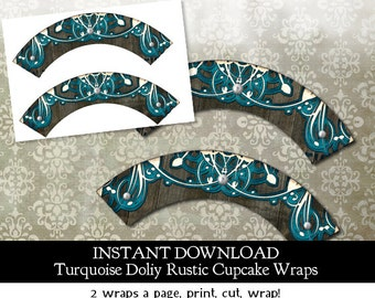 Rustic Bridal Shower Doily Lace Cupcake Wraps - Instant Download - 2 on a page