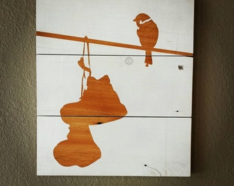 Urban Bird on a Wire Reclaimed Barnwood Painted Sign Wall Hanging