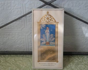vintage religious Virgin Mary  Christmas  hologram thermometer