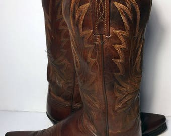 Lucchese Brown Leather Western Cowboy Cowgirl Boots Women's Size 7