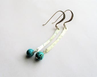 Sterling Dangle Earrings, SS and Turquoise Earrings, SS and Turquoise Drops, Hammered SS Drop Earrings, 46mm drop, December birthstone