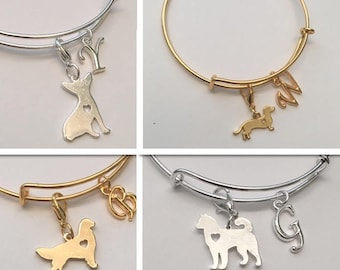 Sale* Dog Bangle, Personalized Chihuahua, Pit Bull,  Husky, Yorkie, Golden Retriever, Gold or Silver Plated Dog Bangles