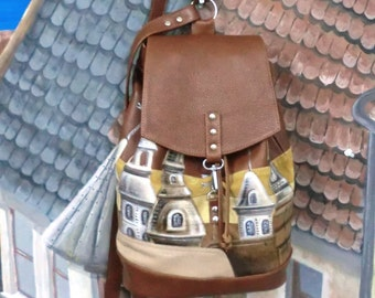 Leather backpack brown leather backpack purse leather appliqué Hand-painted bag Casual Rucksack soft leather rucksack painted packsack