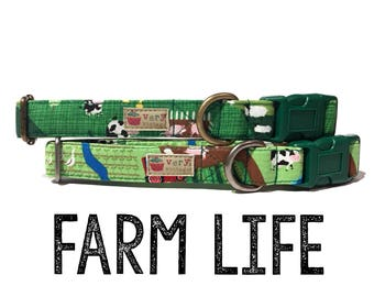 "Whimsical & Fun Country Farm Green Sheep Cow Chicken Barn Critter Dog Collar - Antique Metal Hardware - ""Farm Life"""